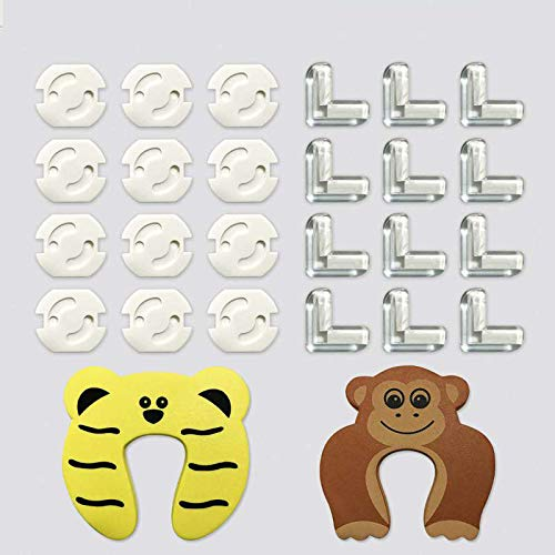 12 Protecciones para Esquinas + 12 Protector Enchufes + 2 Protectores Puerta, EJNOY 26 Pack Protecciones para Bebes y Niños con Adhesivo de 3M, Kit Protector Para Esquinas y Enchufes