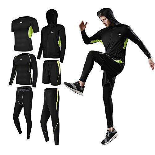 Superora 6 stück Fitness Bekleidungssets für Herren Workout-Kleidung Outfit Fitness Bekleidung Gym Outdoor,Grün,M