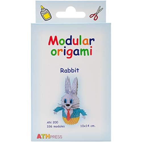 Origami Modular, Juego de 336 Piezas de Papel, Conejo pequeño, Multicolor