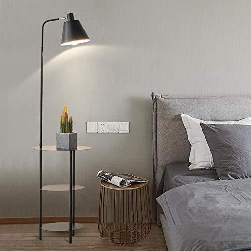 Lámpara de pie moderna simple LED creativa estante lámpara de pie sala sofá dormitorio mesita de noche lámpara de pie de oro (pantalla de color negro)