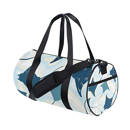 YCHY Gym Bag,Sporttasche Draufsicht Manta Rays Wasser nahtlos,New Canvas Print Eimer Sporttasche Fitness Taschen Reisetasche Gepäck Handtasche