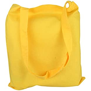 2Store24 Cotton bag, long handles in in Yellow 38x42cm:Carsblog