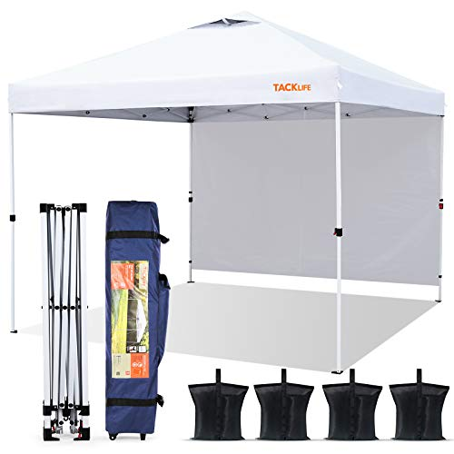 Canopy Tent, TACKLIFE 10×10ft Outdoor Lightweight Instant Pop up Canopy with Attached Sidewalls, Wind Vent, Carrying Bag - White - TLZP01HD