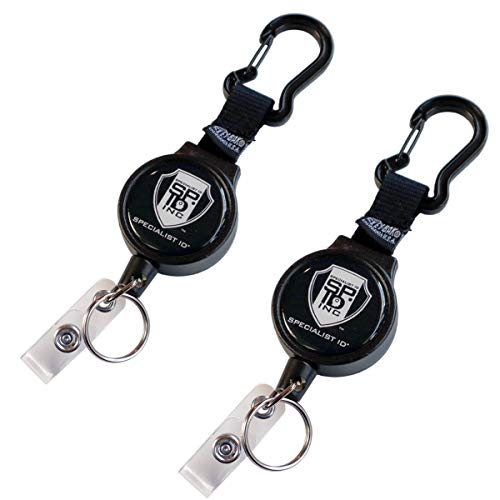 2 Pack - Heavy Duty Badge Reel with Badge Holder & Key Ring - Carabiner Retractable Keychain Lanyard with Strong Kevlar Cord, Card Strap & Belt Loop Clip by Specialist ID & Key-Bak USA