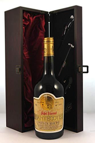 Cotes du Rhone Chantecotes 1989 Domaine St Vincent en una caja de regalo forrada de seda con cuatro accesorios de vino, 1 x 750ml