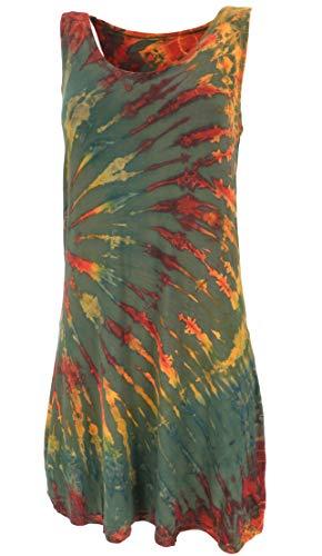 Guru-Shop, Tie Dye Mini-jurk, Tankjurk Hippiejurk, Olijf, Size:12, Korte Jurken
