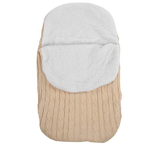 Saco de dormir para bebé recién nacido, suave, cálido, de punto, manta para dormir, saco para cochecito de bebé, beige, 68 x 38 cm