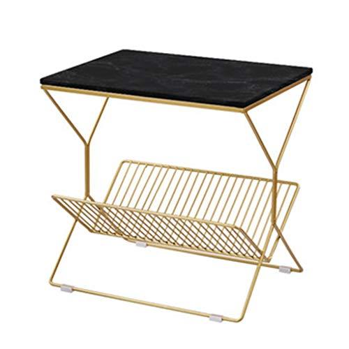 Tables basses Table De Nuit Table De Chevet Chambre Petite Fer Forgé Table De Chevet Côté Canapé Coin Cadeau (Color : Black, Size : 50 * 50 * 36cm)
