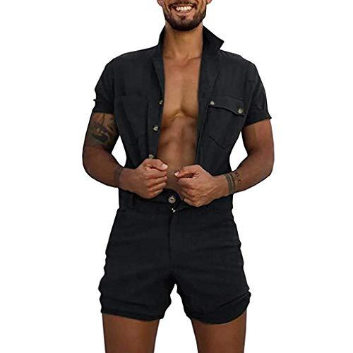 WUAI Mens Rompers Jumpsuits Cotton One Piece Short Sleeve Shirt Drawstring Shorts Casual Plain Overalls Jumpsuit(Black,Medium)