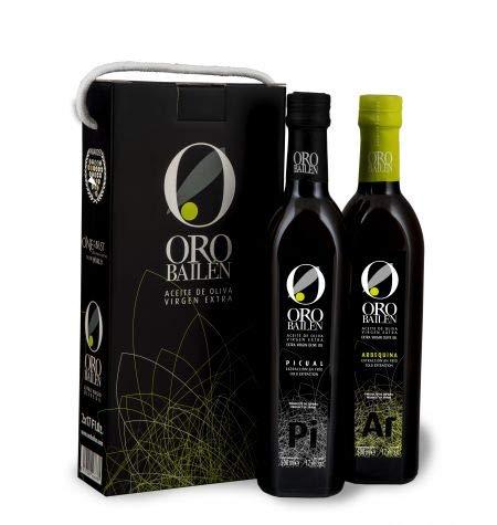 Oro Bailén Arbequina und Picual - Natives Olivenöl Extra - 2 flashen 500 ml kordelhenkel-etui