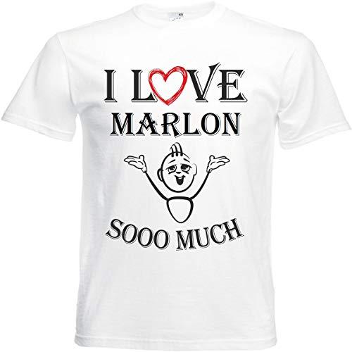 Camiseta I Love Marlon para mujer, hombre y niños en color blanco. Blanco XXXXL