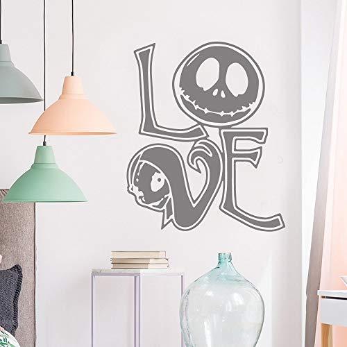 Sanzangtang Creatieve liefdesschedel muursticker vinyl waterdichte wooncultuur voor kinderkamer muurkunst sticker muurschildering