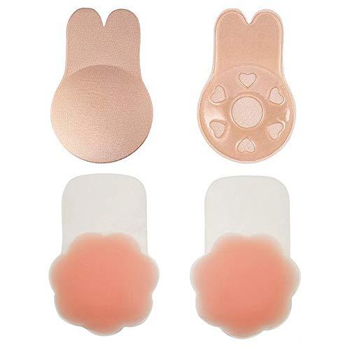 Viccess 1 Piezas Pezoneras Silicona y 1 Piezas Sujetador Adhesivo Silicona Sujetador Invisible Push up Sujetador Coneja para Mujer Sostén Cómodo Reutilizable
