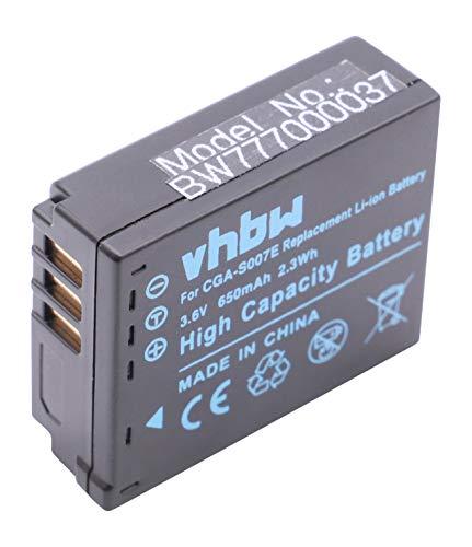 vhbw Akku 650mAh passend für Kamera Panasonic Lumix DMC-TZ1, DMC-TZ2, DMC-TZ3, DMC-TZ4, DMC-TZ5, DMC-TZ11, DMC-TZ15, DMC-TZ50.