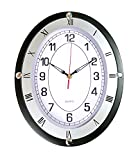 European Oval Wall Clock,14 Inch Silent Non-Ticking Quartz Wall Clocks, Battery Operated Easy to Read Suitable for Office-Living Room and Bedroom