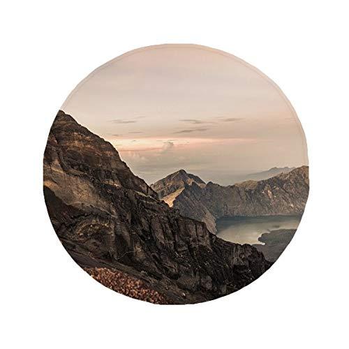 DIYthinker Mountain Desert Sun Brume nuages Lac antidérapant Tapis de Pet de sol rond de salle de bain salon Porte de cuisine 80 cm Cadeau