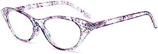 TT WARE Women Cat Eye Flower Frame Reading Glasses Pressure Reduce Presbyopic Glasses-Purple-2.0