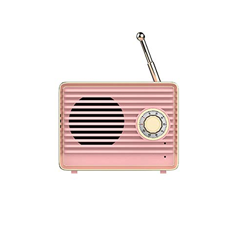 Wireless Retro Speakers, Dosmix Portable Bluetooth Vintage Speaker with Built-in Mic,USB, 8-9 Hours Playtime for Kitchen Bedrooms Desk Shelf Party Travel Android iOS Speaker, Coral Pink