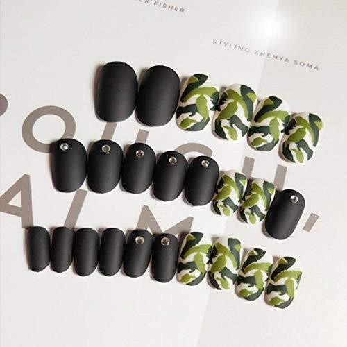 CSCH Faux ongles 24 pcs/boîte avec 2 g de colle Charme Faux Ongles presse sur Noir Pleine Couverture Faux Ongles Frais Camouflage Imprimé Ongles Conseils pour les filles