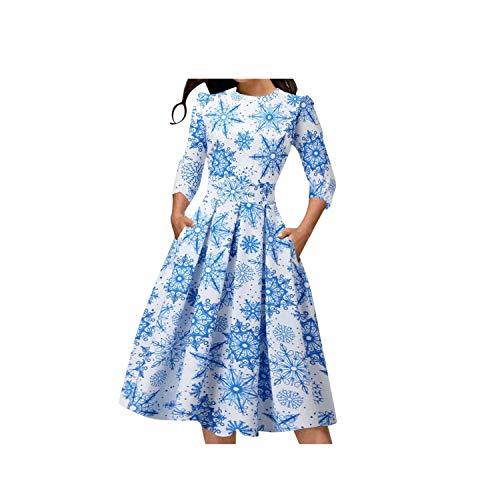 Honestyi Robe Ete Femme Imprimé Manches Courtes Floral Print Flowy Robe Soirée Sundresses Élégant Vintage Robe Bohême Robes Longue Dress Fête Casual Robe (L, C-Noël-Bleu)