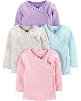 Carter's Baby Girls' 4 Pack Kimono Tees (Newborn, Pastel Colors)