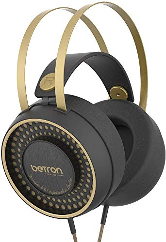 Betron Retro Over Ear Wired Headphones with Bass Driven Sound Self Adjusting Headband and Comfortable Earpads 3.5mm Jack