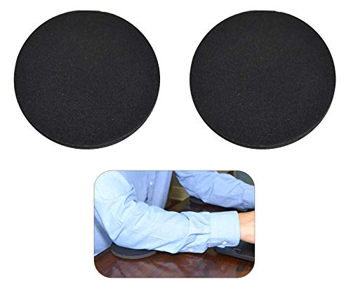 Desk Dots! Elbow, Arm & Wrist Rest Cushioning Pads for Pressure Point & Pain Relief on Gaming & Work Surfaces; Made of Neoprene with Soft Nylon Surface; 4.5' Wide, 0.44' Thick; 2-Pack! (Pitch Black)