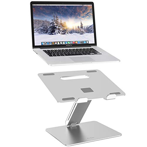 ProCase Adjustable Laptop Stand, Ergonomic Aluminum Laptop Holder, Portable Laptop Riser Notebook Computer Stand for MacBook Pro/ Air Surface Dell Lenovo Laptops up to 15.6-Inch - Silver