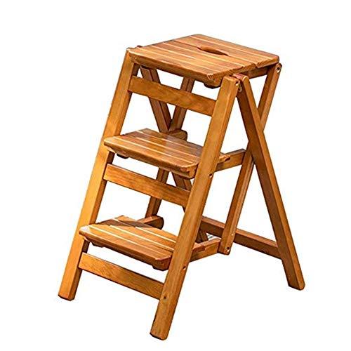 L-WSWS Plegable taburete de madera 3 Paso Escalera Portátil Instalación Cátedra Libre ahorro de espacio de la escalera interior y exterior de heces Decoración Familia de carga máxima de 150 kg Sillas