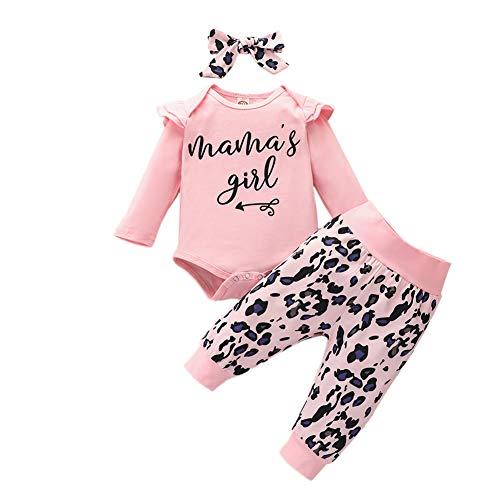3tlg Babykleidung Set Baby Mädchen Langarm Body Top + Hose Neugeborenen 0-6 Monate Stirnband Outfits