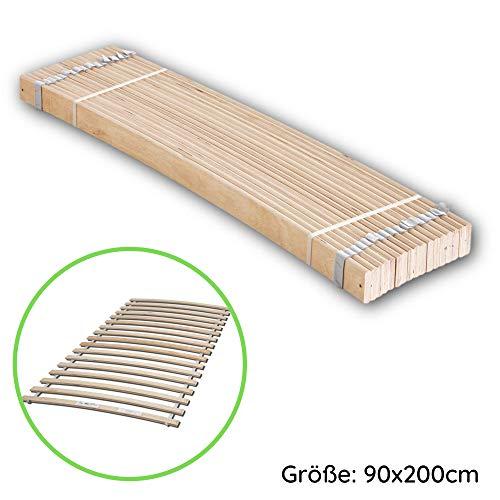 Rollrost aus stabilen Federleisten für Liegefläche 90 x 200 cm - Hochwertiger Lattenrost aus Birkenschichtholz - 90 x 1 x 192,5 cm (B/H/T)