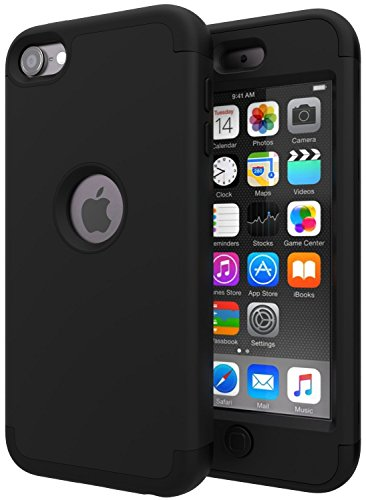 iPod Touch 7 CaseiPod Touch 6 CaseSLMYTM Heavy Duty High Impact Armor Case Cover Protective Case for Apple iPod Touch 5/6/7th Generation Black/Black