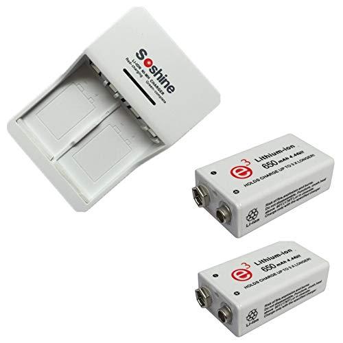 2 Stück 9 V 650 mAh Batterie Akku Li-Ion mit Ladegerät Akku für 9 V 6 F22 ni-mh 9.8 V 11.2 V li-ione 8.4 V NI-MH 9.8 V 11.2 V
