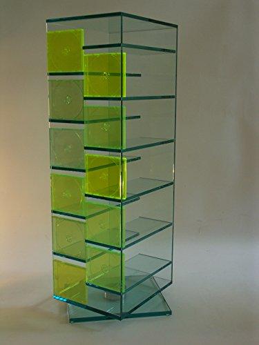 Paul Snajdar Glas CD DVD Regal JANUS 125 cm drehbar Klarglas Archivierung Ständer