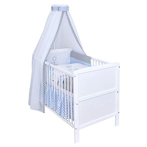 Baby Delux Babybett Komplett Set umbaubar Juniorbett weiß 140x70 mit mehrteiligem Bettset Magic Stars Blau