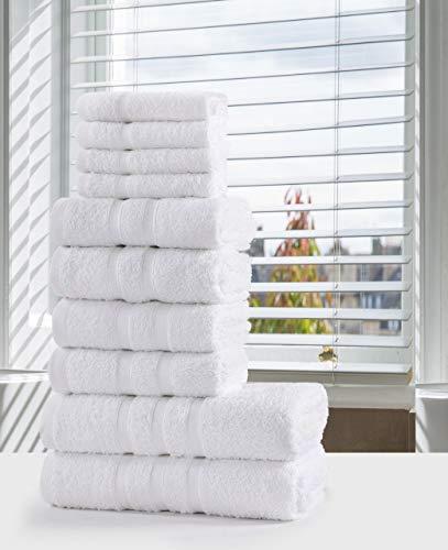 SeventhStitch - Set di asciugamani da bagno in 100% cotone egiziano, Bale, 10 pezzi, per viso, mani e doccia bianco