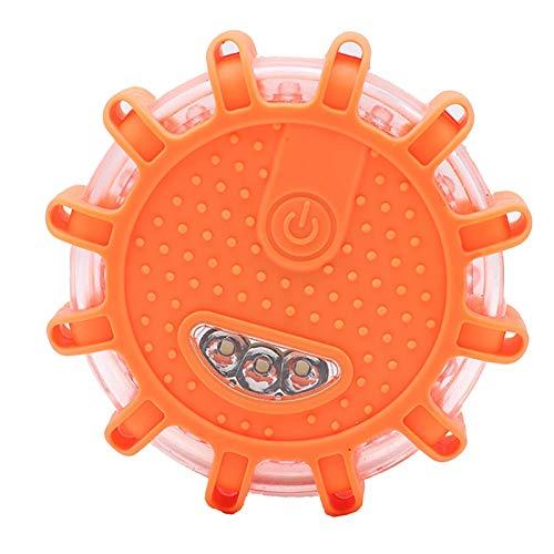 LED Warnleuchten Warnlicht Rundum-Warnblinkleuchte Sicherheitsfackel-Kit für Fahrzeuge 9 Leuchtmodi + Ladegerät,Wasserdicht Kabellos Antikollisions Sicherheitswarnleuchten Auto Ein/Aus 2PC (Orange)