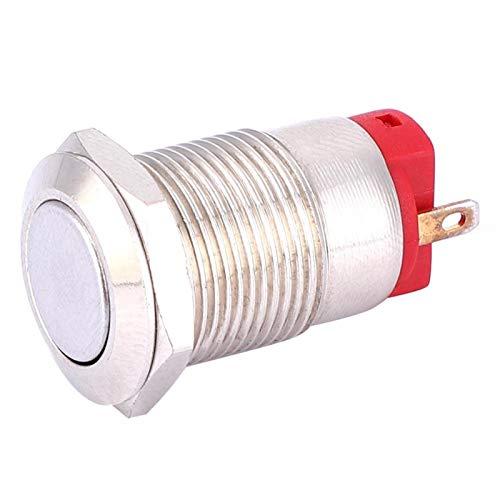 Interruptor de botón 12 mm 2 piezas Empuje 2 pines de metal para equipos industriales(short hair)