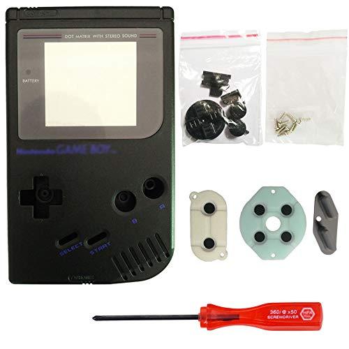 iMinker Full Gehäuse Shell Pack Fall Deckung Ersatzteile mit offenen Tools für Nintendo Gameboy GB Konsole (Schwarz)