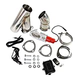 CARMOCAR 3' Electric Exhaust Control E-Cut Out Valve System Electric Cutout Y Pipe With Switch Remote Kit Universal Stainless Steel 75mm