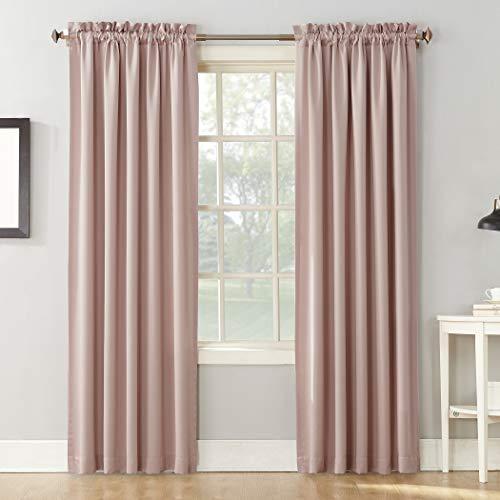 "Sun Zero Barrow Collection Rod Pocket Room Darkening Panel, 54"" x 84""-1, Blush Pink"