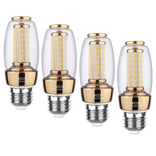 Yiizon LED E27 9W lampadine a candela 80W equivalenti a incandescenza 3000K Bianco Caldo Lampadine Candelabri E27 900LM Non Dimmerabili Vite Edison Lampadine Mais 4-Pacco