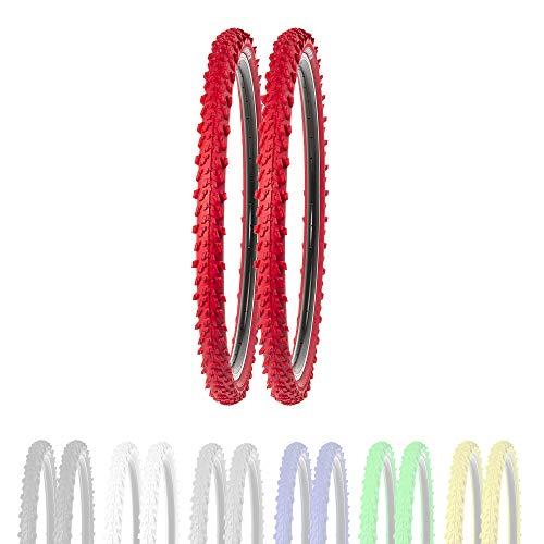 P4B | 2 neumáticos de bicicleta de 26 pulgadas 50-559 en rojo | 26 x 1,95 | buen agarre en caminos de campo y terreno suelto gracias a los tacos exteriores e interiores.