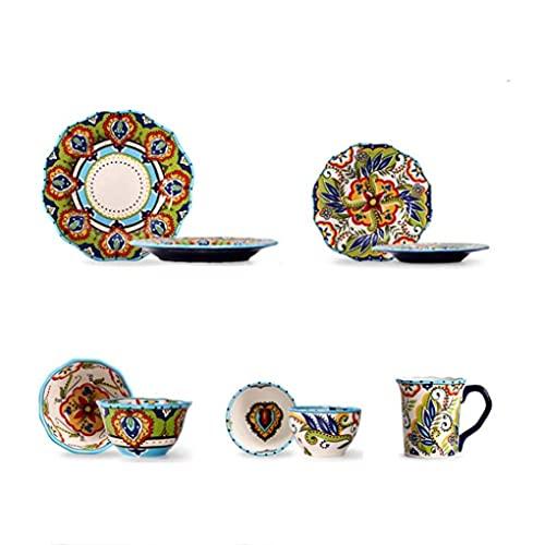 KELITINAus 5 Pezzi Vintage Pastoral Pastoral Porcellana Set da Pranzo in Ceramica Regalo Di Stoviglie in Ceramica