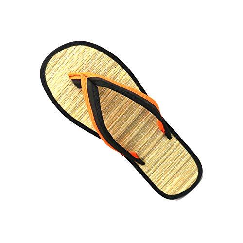 Amea Frauen Hausschuhe, Silent Bambus Rattan Flat Flip Flops, Clip Toe Auf Stroh Low Heels, rutschfeste Sandalen Slip Für Paare, Sweet Beach,Orange,37