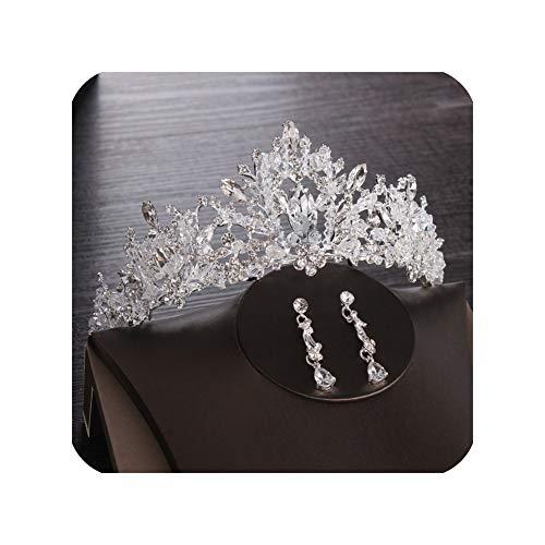 Coronas de novia de boda tiara princesa de cristal corona Corea moda accesorios de pelo joyería novia plata oro rosa tiaras y coronas niña tiara clip pendientes tiarapinar-