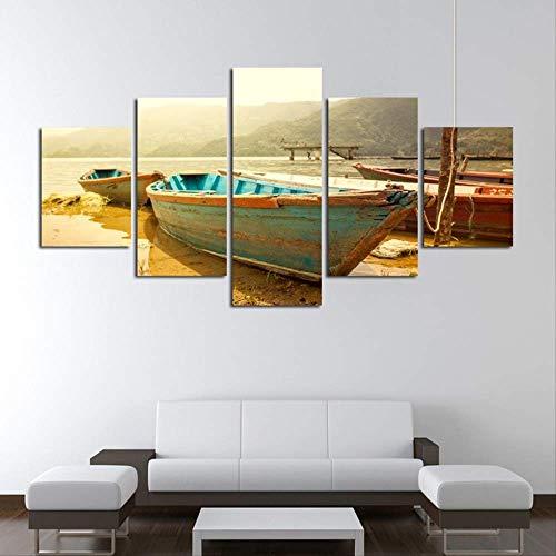 Moderner Stil dekorative Malerei Spray Leinwand Malerei fünf kleine Holzboote an Land Leinwand Drucke Größe 2 Rahmen