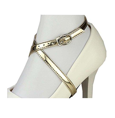 Accessoires de lacets anti-lâches à talons hauts pour femmes, détachables (or léger)