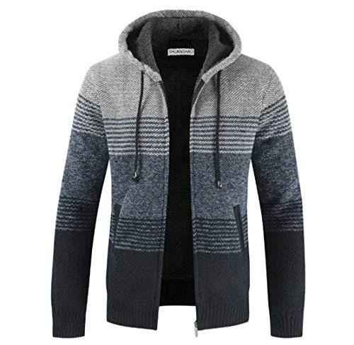 Shuanghao Cárdigan de Hombre uello Alto Casuales Chaqueta Chaqueta de Punto para Hombre Sudaderas con Capucha Suéter de Punto (L, Gris Claro)