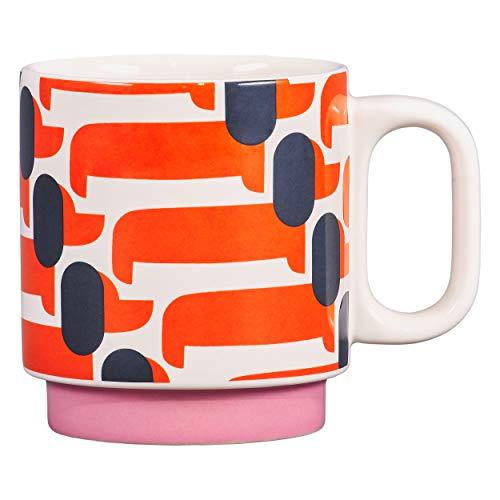 Orla Kiely Dachshund Papaya Mug Taza, cerámica